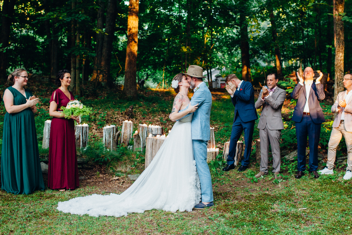 Adorable DIY Backyard Wedding in Upstate New York with a Rock and Roll Bride and Groom – Claire Eliza 49