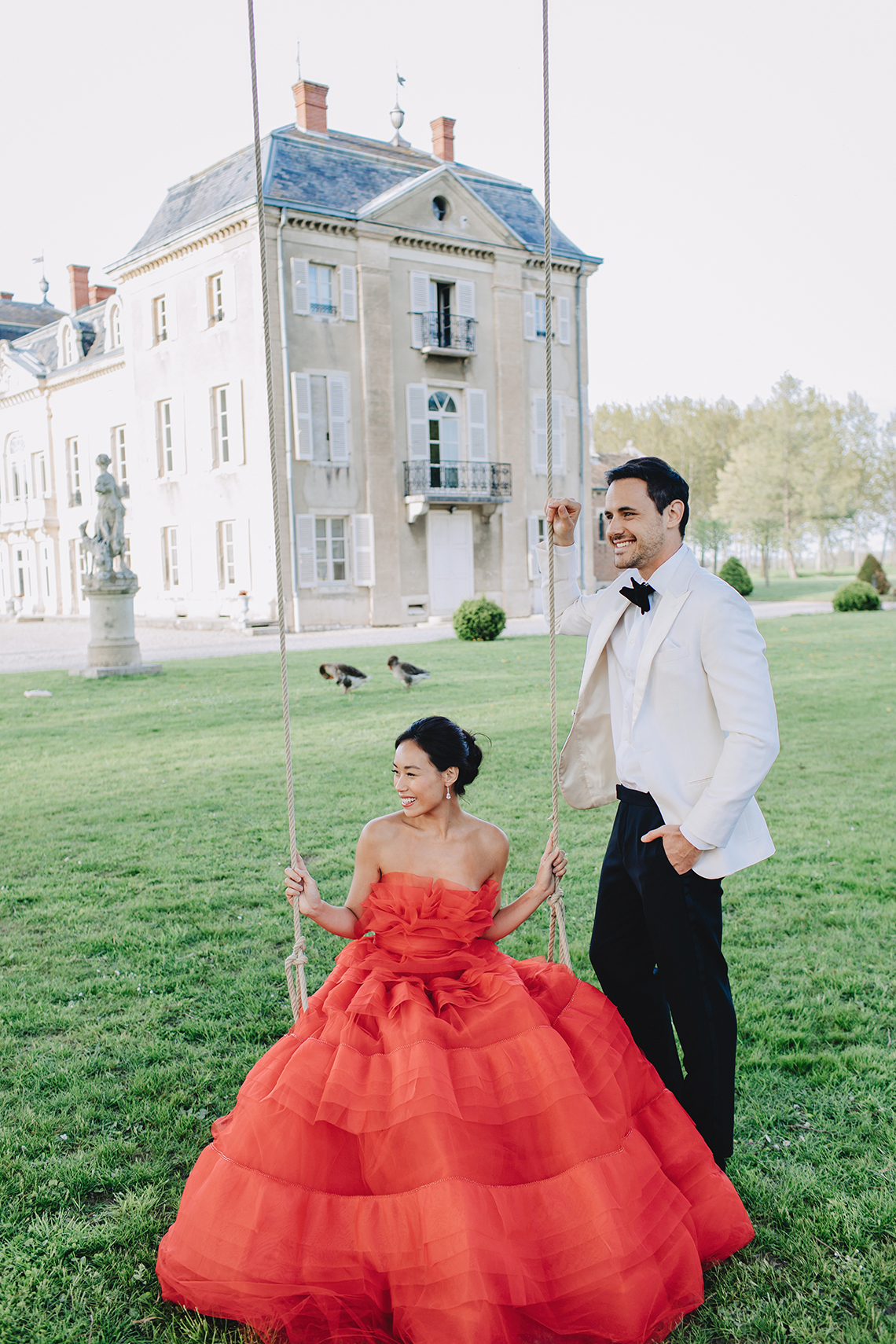 Sexy French Chateau Wedding Inspiration with a Red Wedding Dress – JuMi Story 69