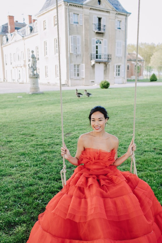 Sexy French Chateau Wedding Inspiration with a Red Wedding Dress – JuMi Story 70
