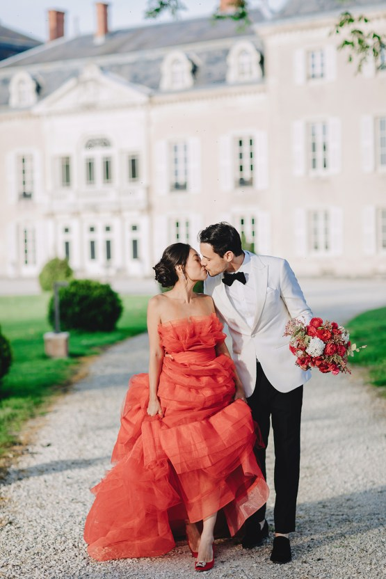 Sexy French Chateau Wedding Inspiration with a Red Wedding Dress – JuMi Story 71
