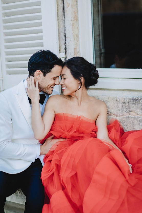 Sexy French Chateau Wedding Inspiration with a Red Wedding Dress – JuMi Story 80