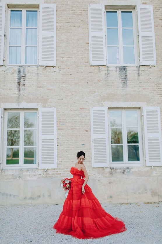 Sexy French Chateau Wedding Inspiration with a Red Wedding Dress – JuMi Story 81