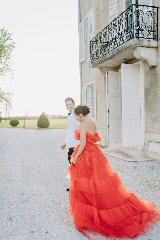 Sexy French Chateau Wedding Inspiration with a Red Wedding Dress – JuMi Story 82