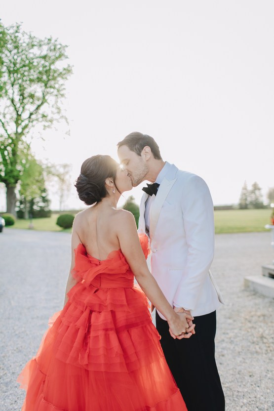 Sexy French Chateau Inspiration Featuring A Stunning Red Wedding Dress,Most Iconic Wedding Dresses