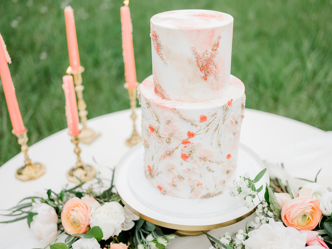 Whimsical Pantone Living Coral Colorful Meadow Wedding Inspiration – Kira Nicole Photography 1