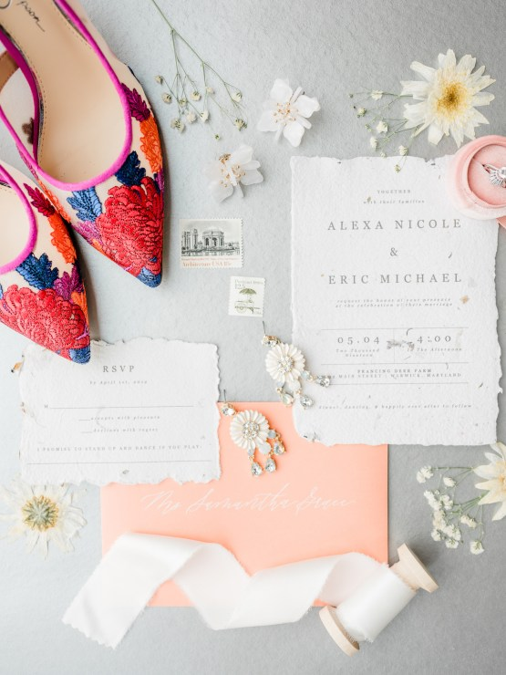 Whimsical Pantone Living Coral Colorful Meadow Wedding Inspiration – Kira Nicole Photography 13