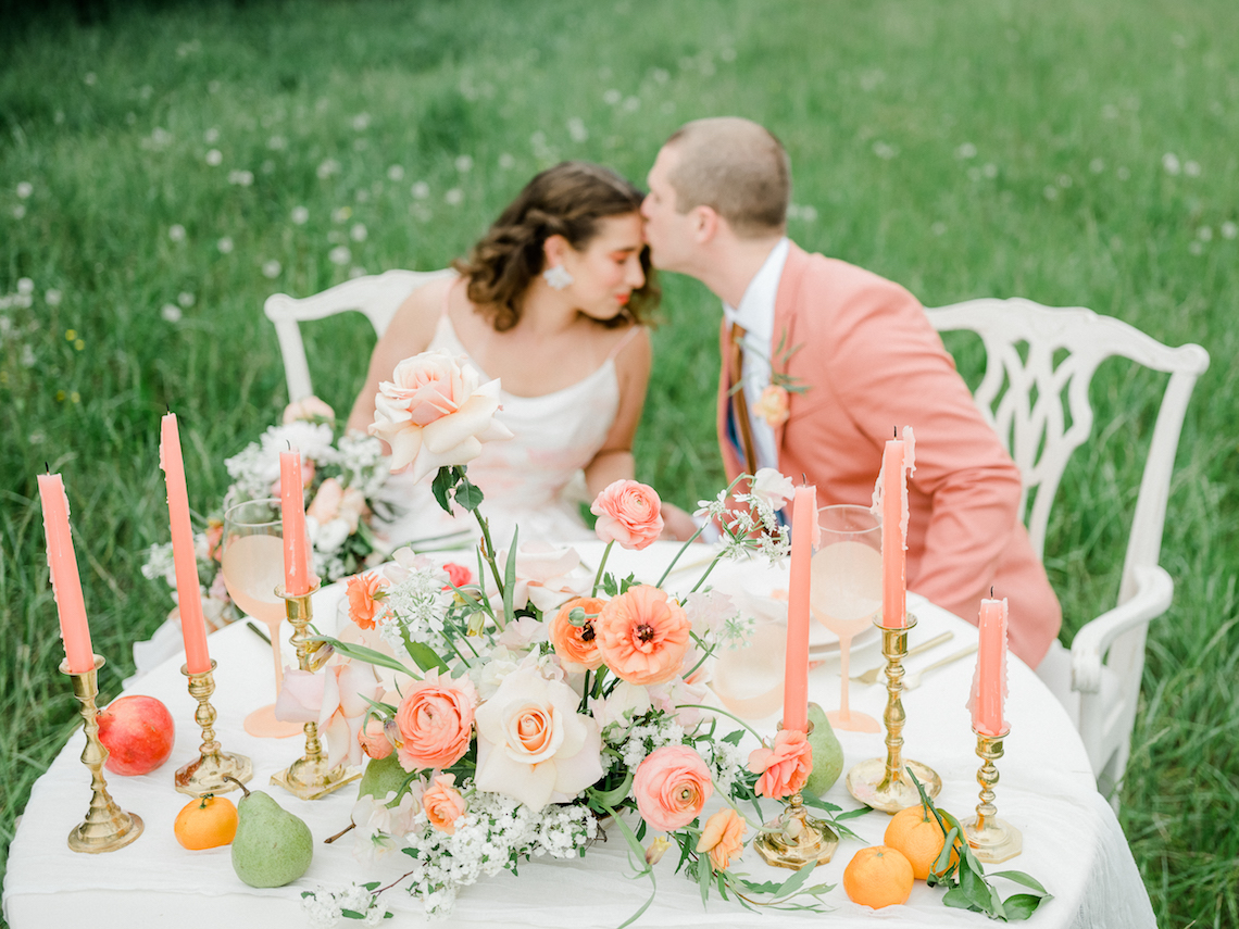 Whimsical Pantone Living Coral Colorful Meadow Wedding Inspiration – Kira Nicole Photography 4