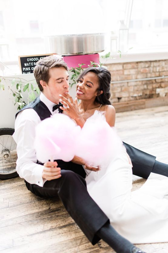 Adorable Loft Wedding Inspiration with a Cotton Candy Cart – Grey Garden Creative 23