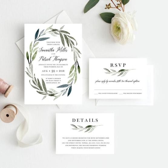 Greenery Wedding Invitation Downloads by Jazz Hands Paper Co on Etsy – The Best Places to Buy Wedding Stationery Invitations Paper Goods Online
