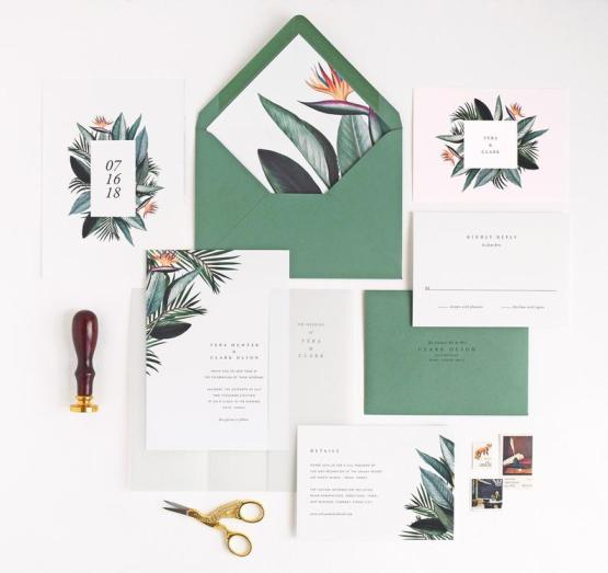 Tropical Birds of Paradise Wedding Invitations by Rachel Marvin Creative – The Best Places to Buy Wedding Stationery Invitations Paper Goods Online