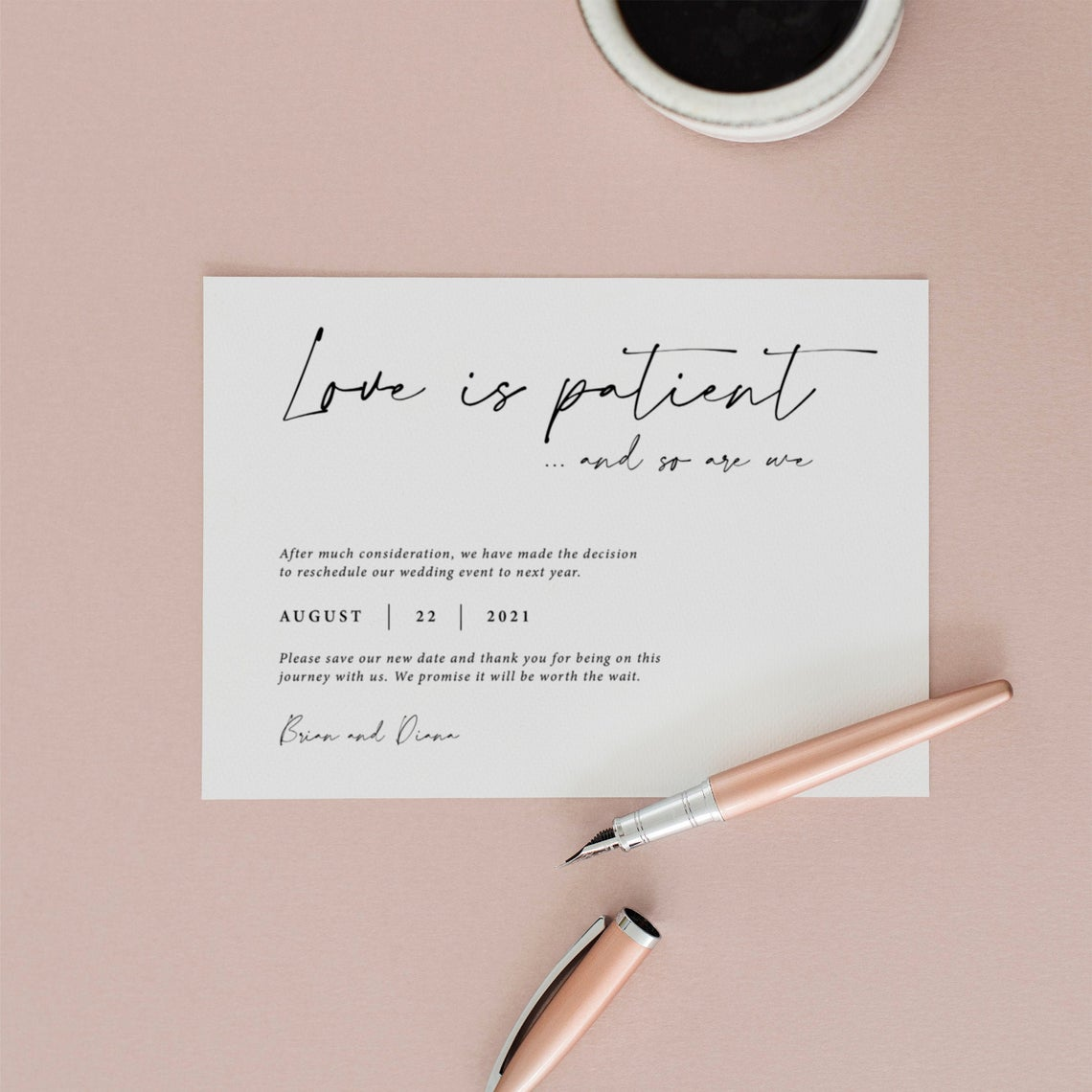 Paperly Canada – Etsy – 10 Pretty Wedding Postponement and Event Change Cards We Love – Bridal Musings 5