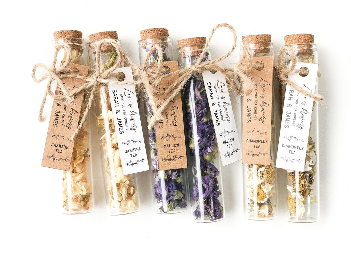 Everything to Buy for Your Wedding on Etsy – Botanical Tea Wedding Favors