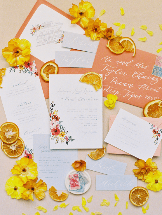 Zesty Citrus Wedding Ideas – The Grand Lady – Texas Wedding – Kristin La Voie Photography 5