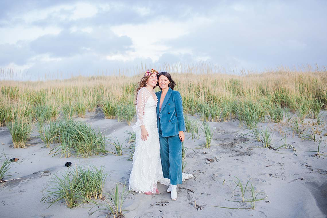 Pacific Northwest Rock and Roll Beach Wedding at The Funky Souwester Lodge – Claire Eliza Wedding Photography – Christina Castello and Drew Pull – Alexandra Grecco Dylan Gown 15