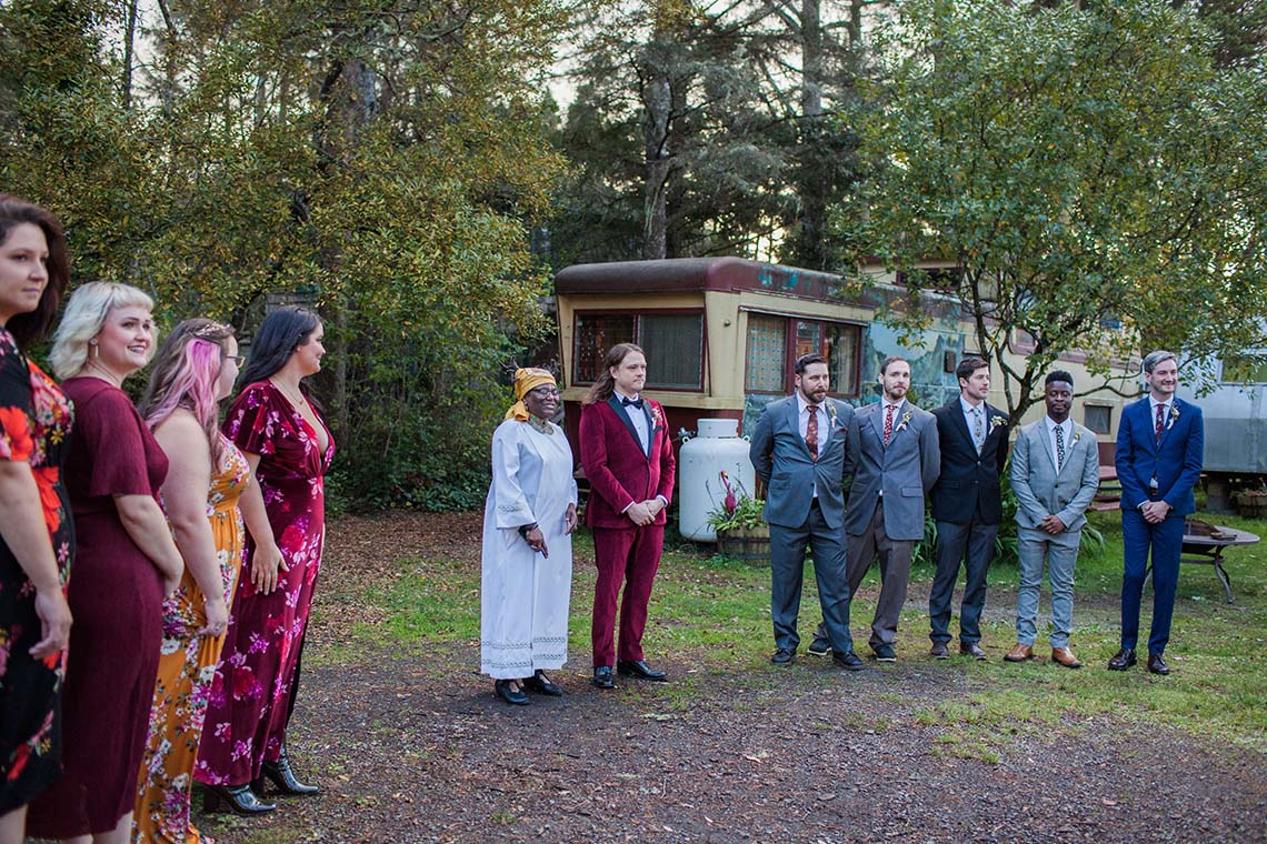 Pacific Northwest Rock and Roll Beach Wedding at The Funky Souwester Lodge – Claire Eliza Wedding Photography – Christina Castello and Drew Pull – Alexandra Grecco Dylan Gown 4