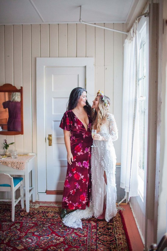 Pacific Northwest Rock and Roll Beach Wedding at The Funky Souwester Lodge – Claire Eliza Wedding Photography – Christina Castello and Drew Pull – Alexandra Grecco Dylan Gown 45