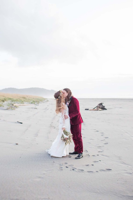 Pacific Northwest Rock and Roll Beach Wedding at The Funky Souwester Lodge – Claire Eliza Wedding Photography – Christina Castello and Drew Pull – Alexandra Grecco Dylan Gown 56