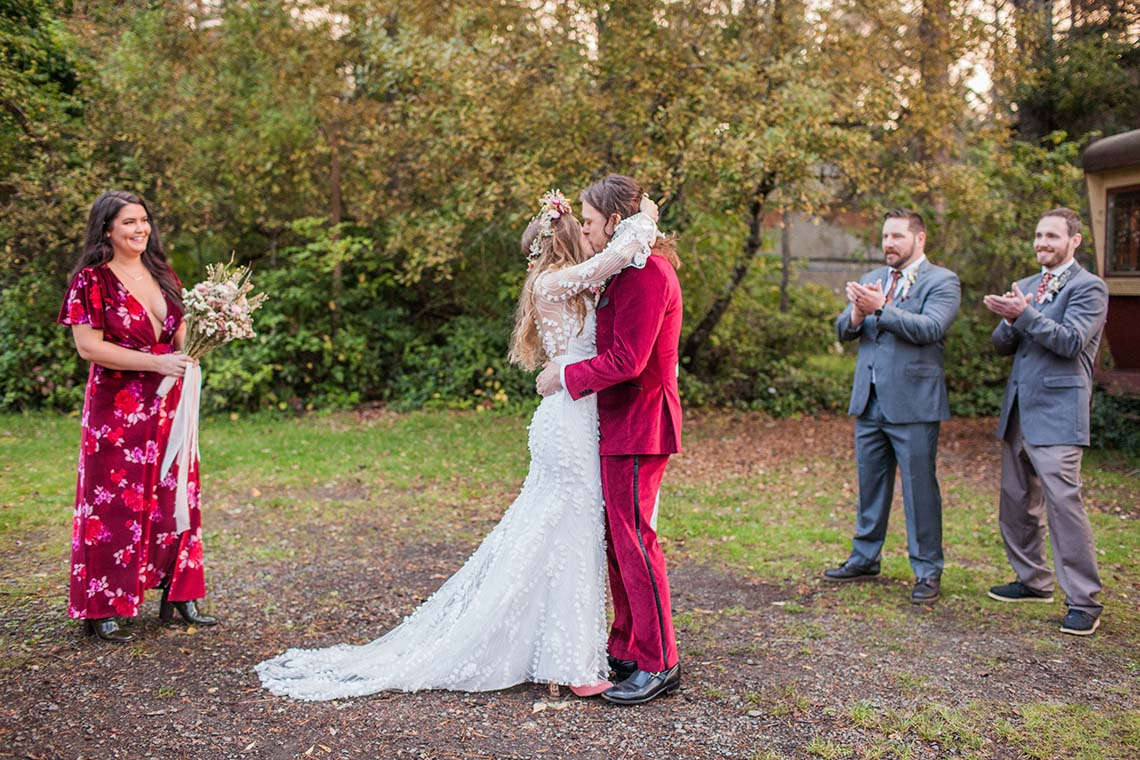 Pacific Northwest Rock and Roll Beach Wedding at The Funky Souwester Lodge – Claire Eliza Wedding Photography – Christina Castello and Drew Pull – Alexandra Grecco Dylan Gown 7
