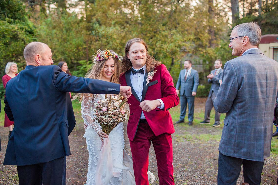 Pacific Northwest Rock and Roll Beach Wedding at The Funky Souwester Lodge – Claire Eliza Wedding Photography – Christina Castello and Drew Pull – Alexandra Grecco Dylan Gown 8