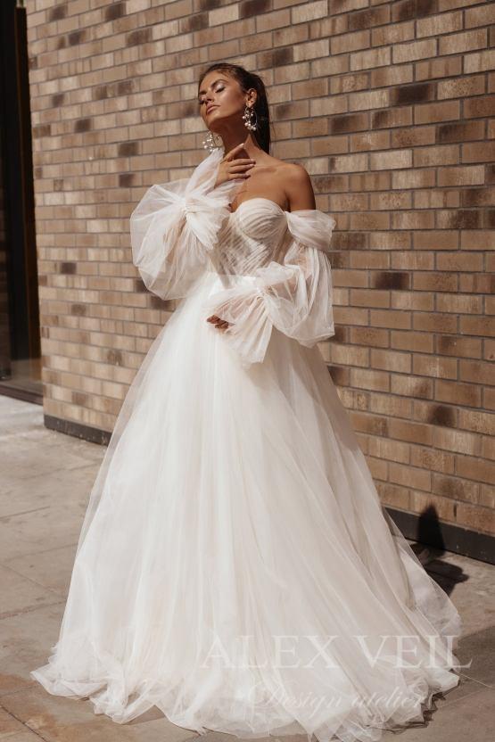 Alex Veil Bridal Taylor off the shoulder bishop sleeve tulle wedding dress – The Best Wedding Dress Designer Shops on Etsy 2