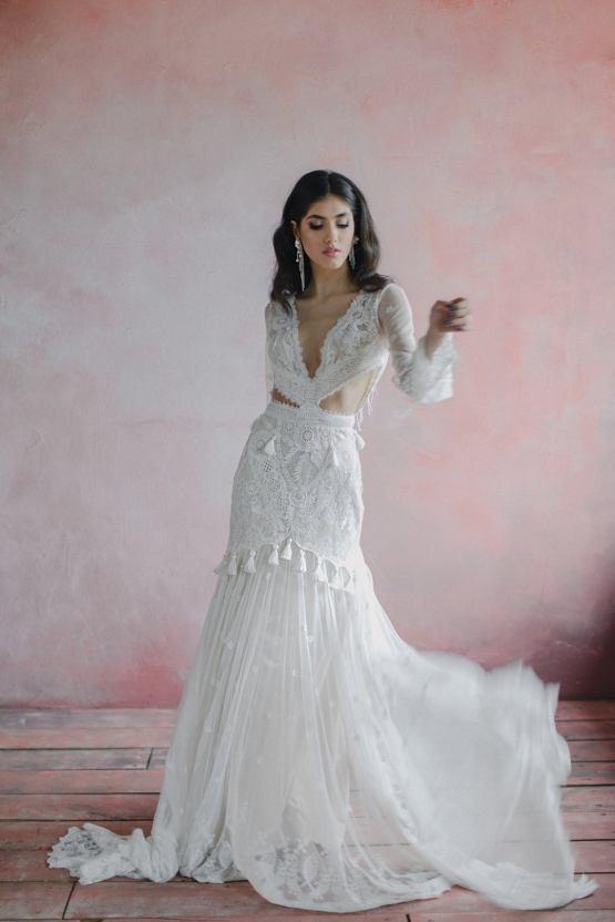 Angellure Bridal tassle bohemian wedding dress – The Best Wedding Dress Designer Shops on Etsy 1
