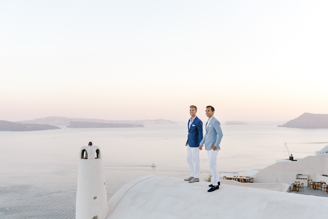 Blue and White Santorini Cliffside Same Sex Wedding – Nathan Wyatt Photography 13