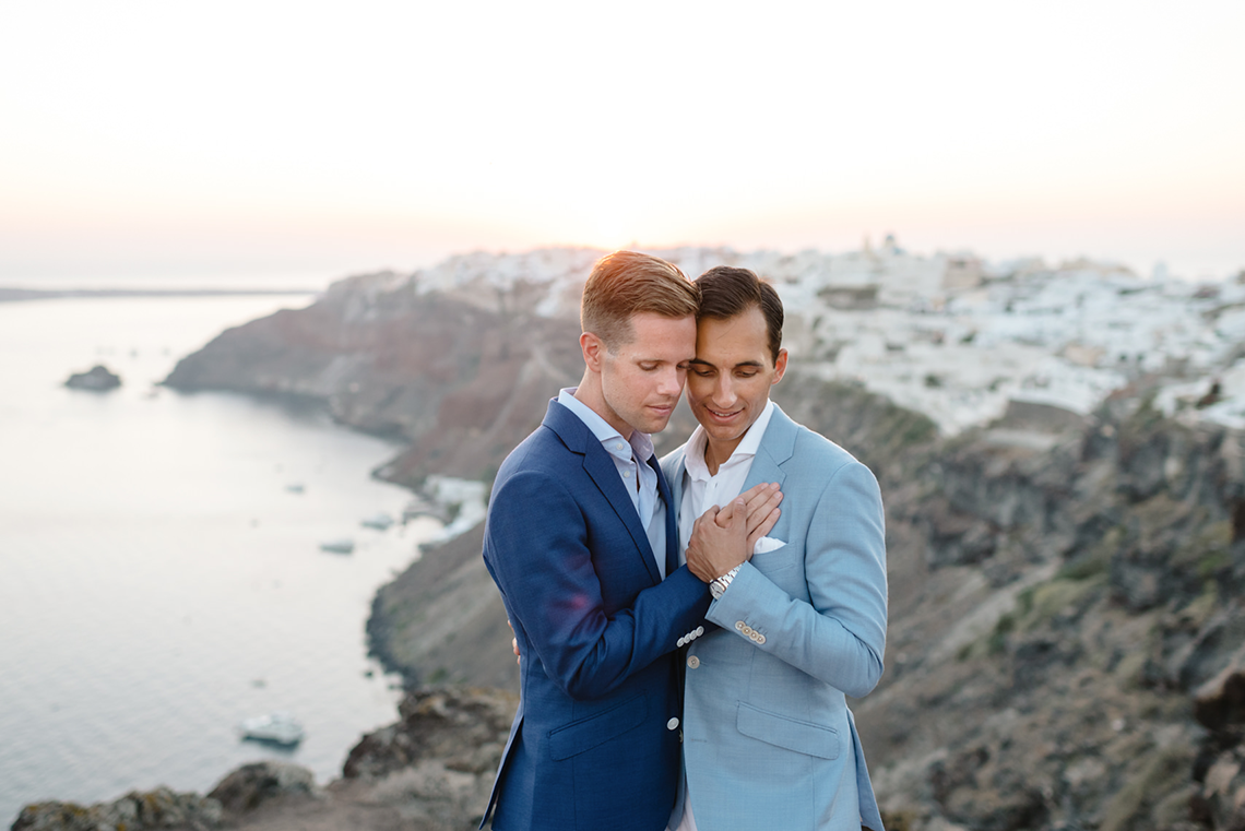 Blue and White Santorini Cliffside Same Sex Wedding – Nathan Wyatt Photography 15