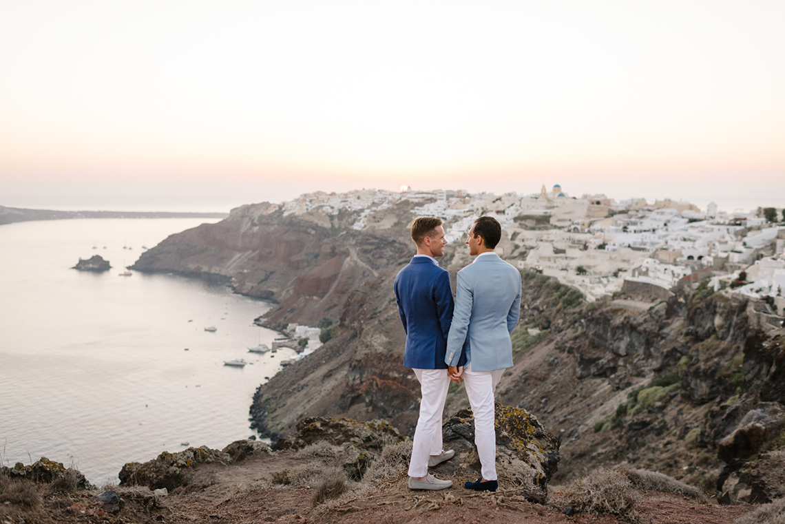Blue and White Santorini Cliffside Same Sex Wedding – Nathan Wyatt Photography 16