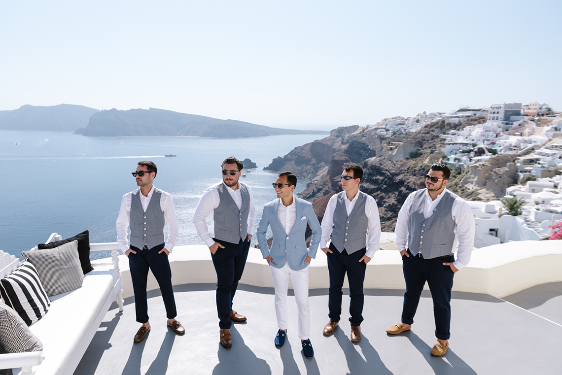 Blue and White Santorini Cliffside Same Sex Wedding – Nathan Wyatt Photography 2