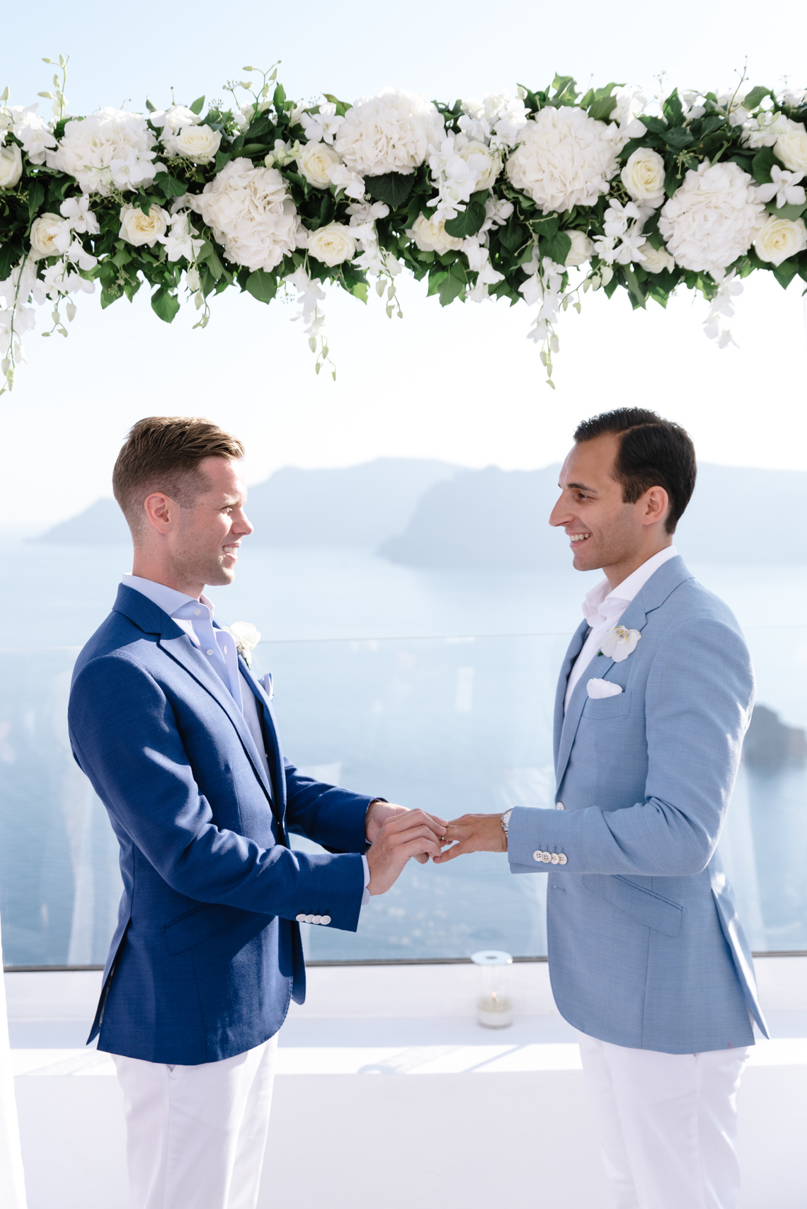 Blue and White Santorini Cliffside Same Sex Wedding – Nathan Wyatt Photography 39
