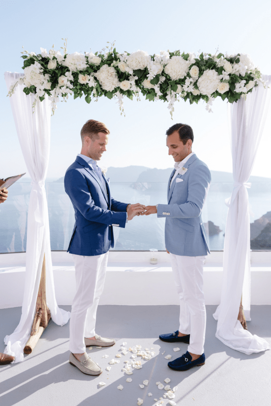 Blue and White Santorini Cliffside Same Sex Wedding – Nathan Wyatt Photography 40