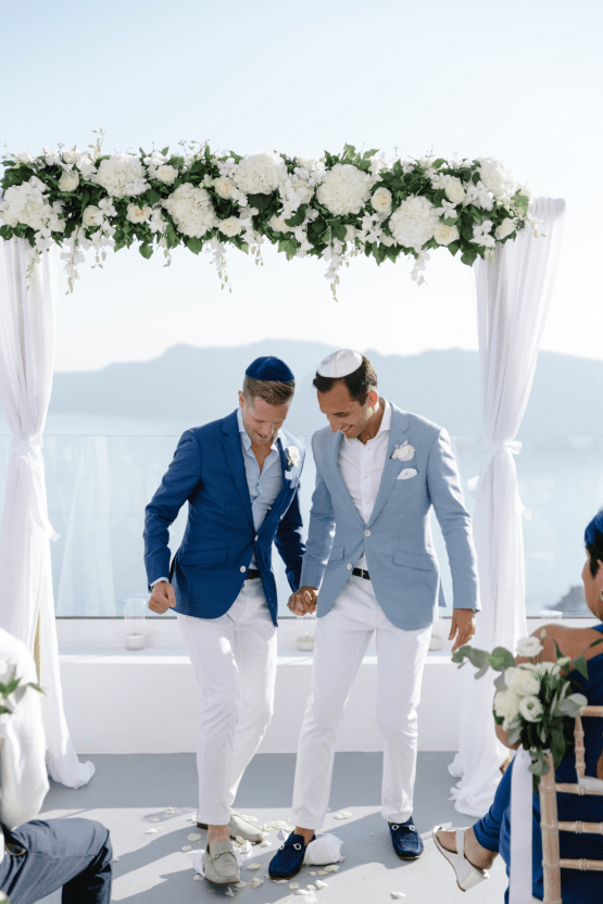 Blue and White Santorini Cliffside Same Sex Wedding – Nathan Wyatt Photography 42