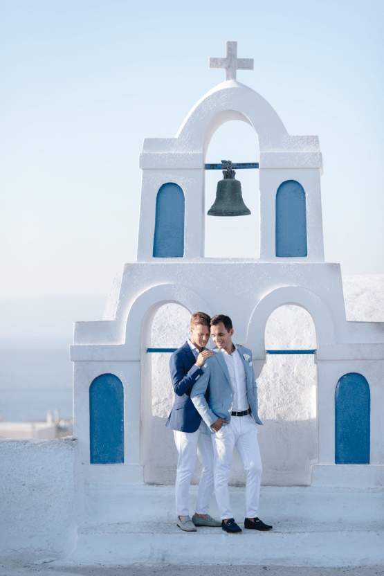 Blue and White Santorini Cliffside Same Sex Wedding – Nathan Wyatt Photography 44