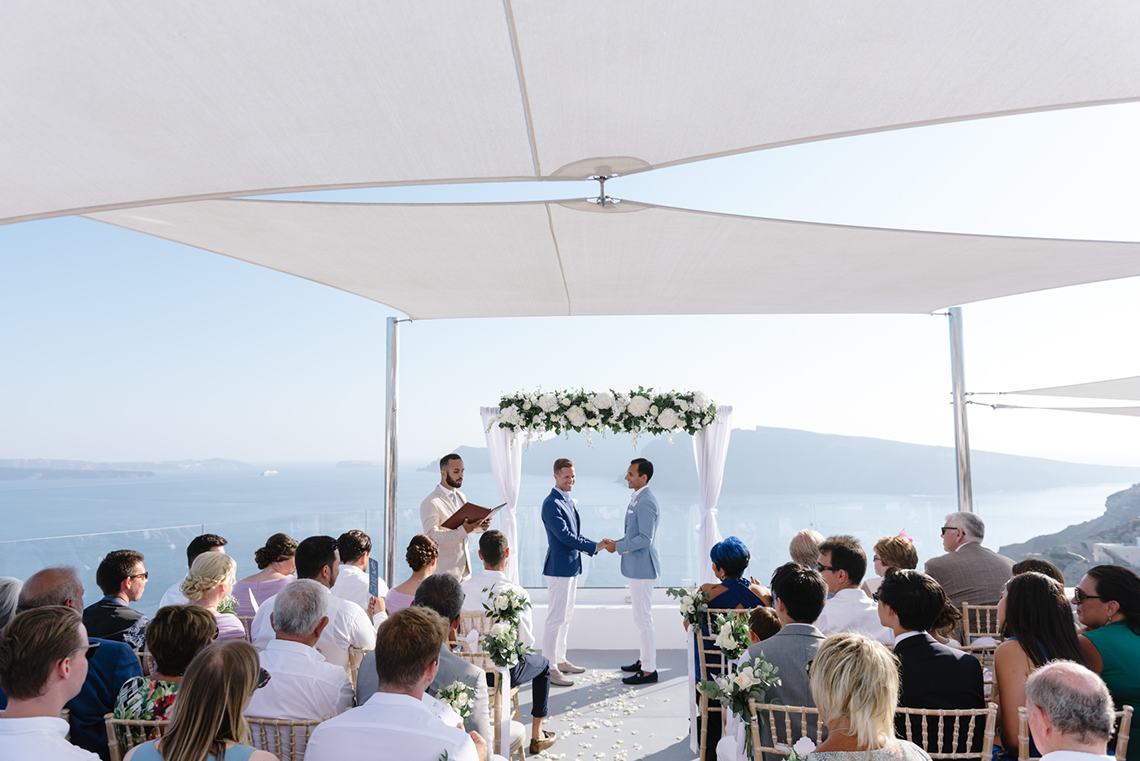 Blue and White Santorini Cliffside Same Sex Wedding – Nathan Wyatt Photography 7