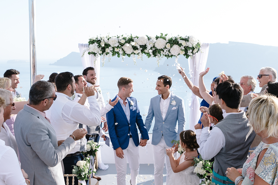 Blue and White Santorini Cliffside Same Sex Wedding – Nathan Wyatt Photography 9