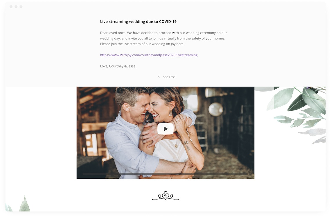 Creating a Wedding Website in 2020 – Joy – Bridal Musings – Announcement Banner – Live Stream – 2