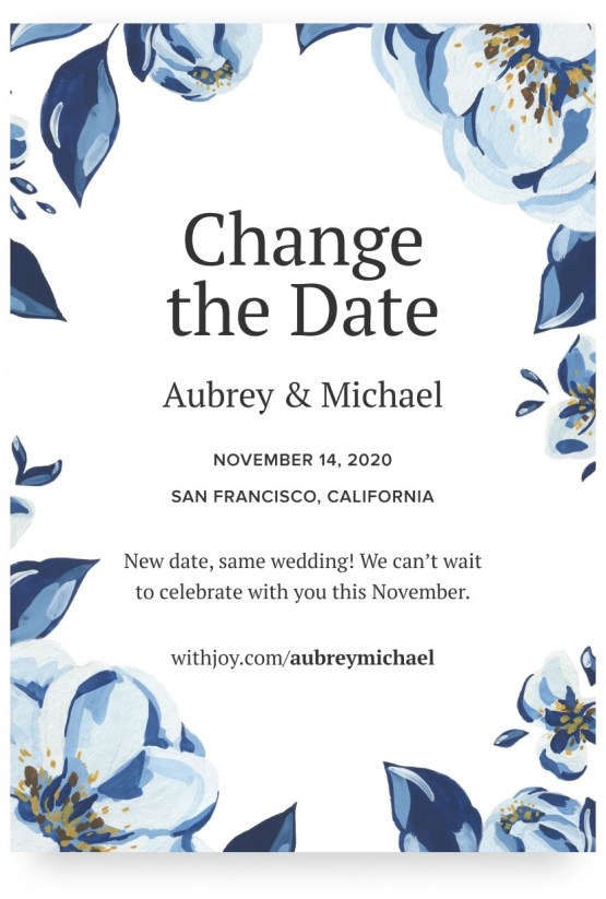 Creating a Wedding Website in 2020 – Joy – Bridal Musings – Change the Date – 1