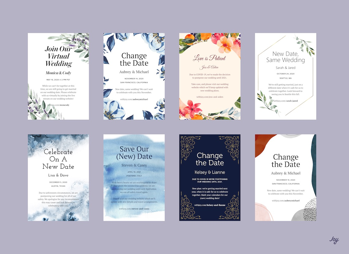 Creating a Wedding Website in 2020 – Joy – Bridal Musings – Change the Date Grid