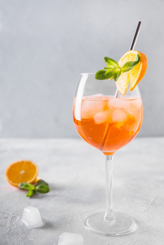 Classic Italian aperol spritz cocktail on light.