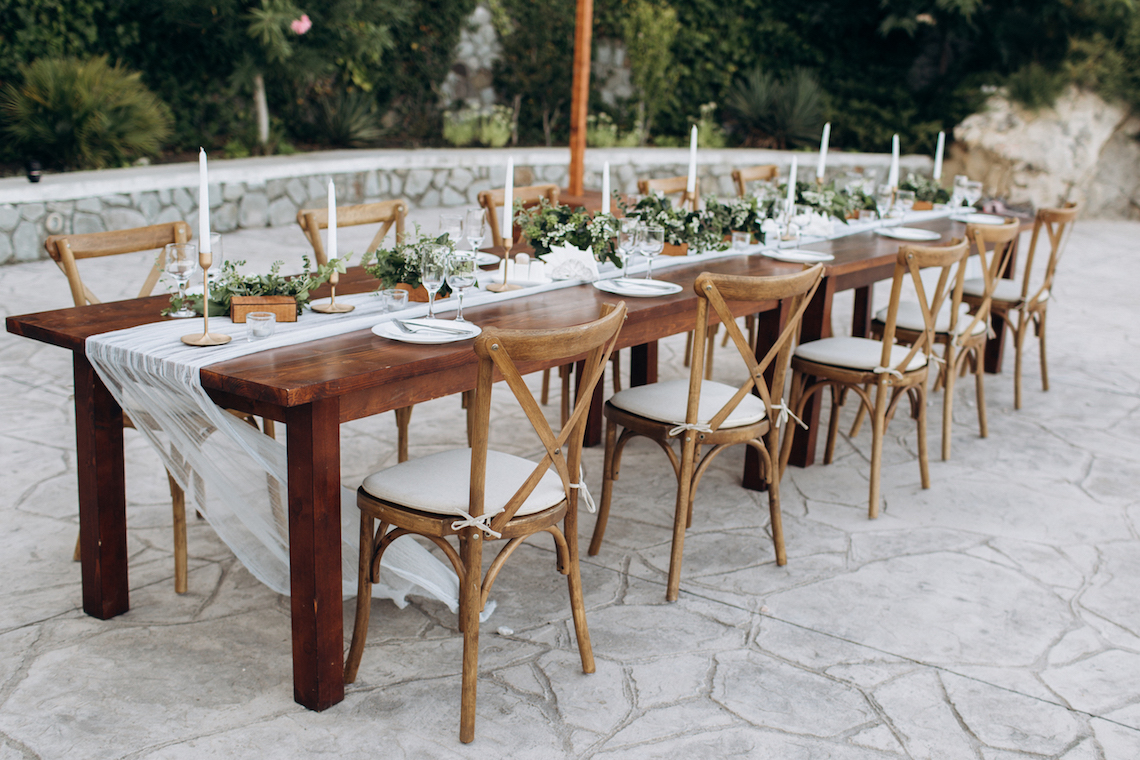 Eco-friendly, wedding decor. Wooden table newlyweds for a party.