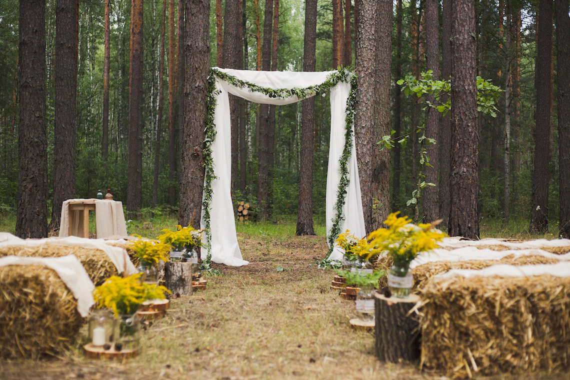 place in old autumn wood for wedding ceremony