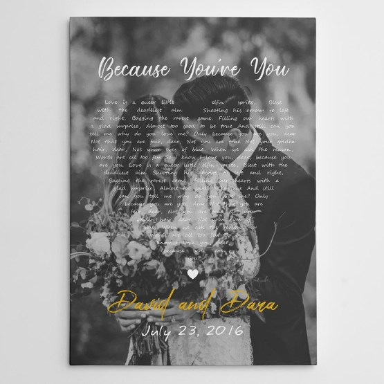 Custom Song Lyric Canvas Photo Print – 365Canvas – Personalized Wedding Gifts for Engaged Couples – Bridal Musings