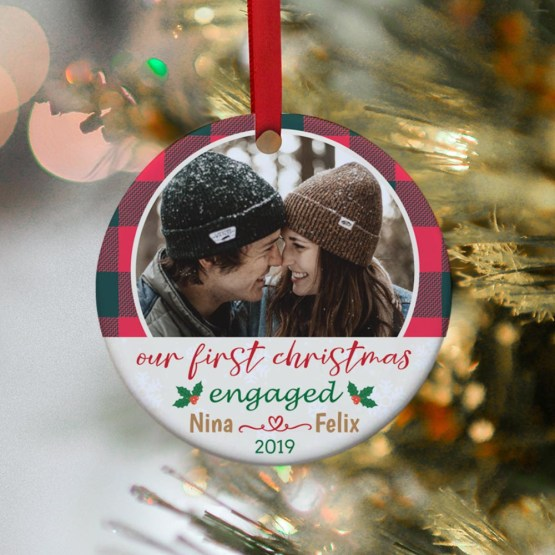 Our First Christmas Engaged Custom Photo Ornament – 365Canvas – Personalized Wedding Gifts for Engaged Couples – Bridal Musings