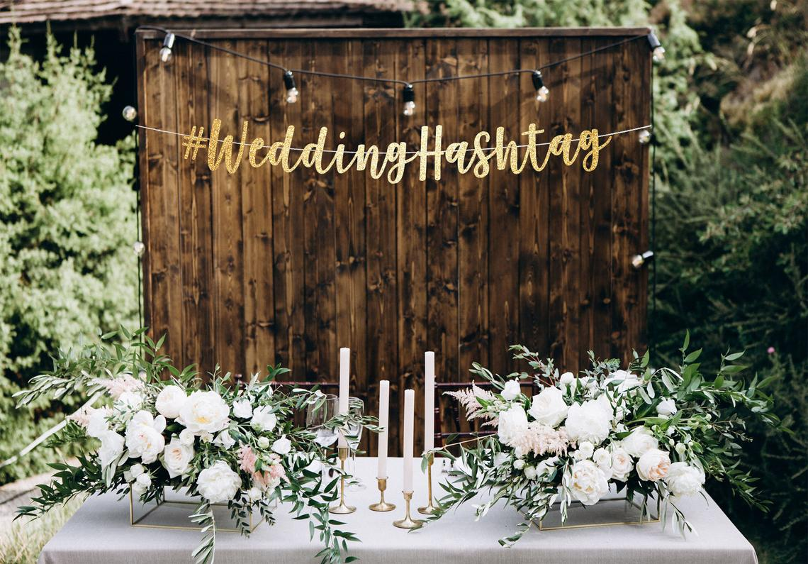 The Best Alternative To A Wedding Hashtag Generator – Bridal Musings – Wedding Hashers – Gold Wedding Hashtag Banner – Etsy