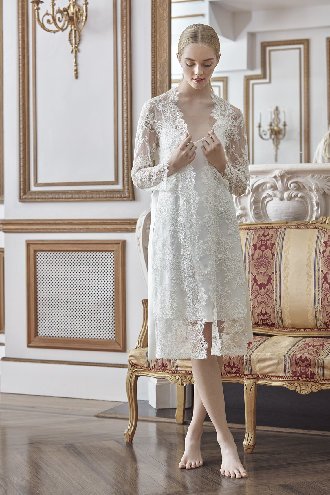 Sareh Nouri Luxurious Lace Bridal Robes – Bridal Musings – Sarabeth Robe 1