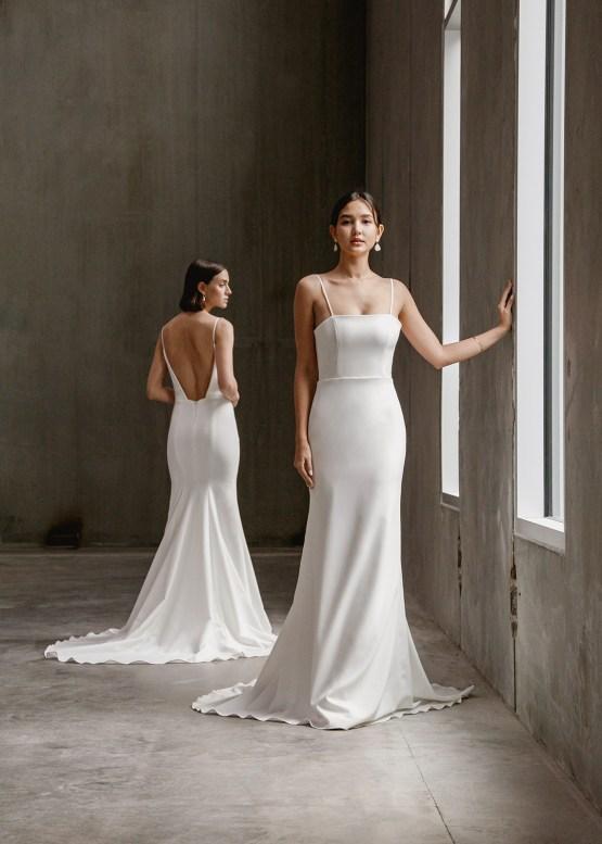 Modern Minimalist 2021 Wedding Dresses by Aesling Bride – Gossamer and Eunoia Dress