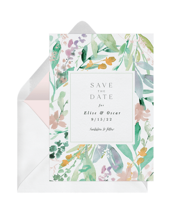 Floral Watercolor Save The Date – Greenvelope Digital Save The Date Wedding Invitations – Bridal Musings