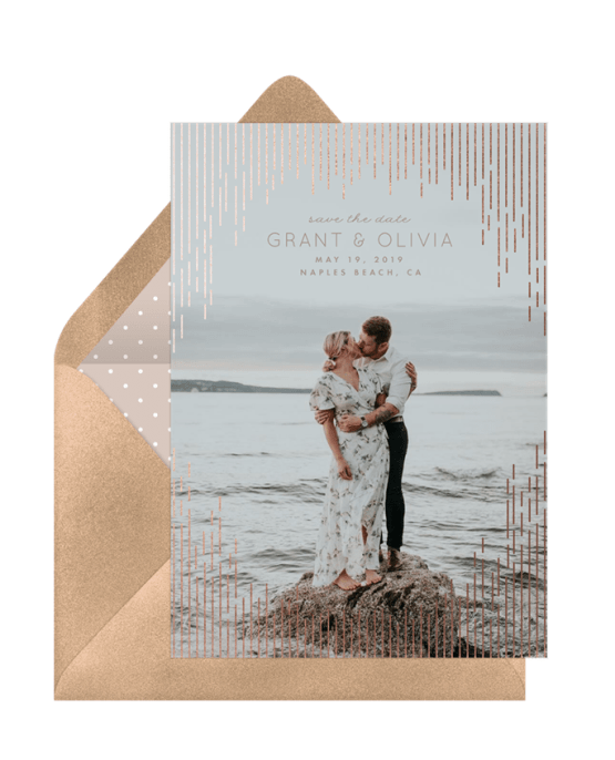 Gold Foil Save The Date – Greenvelope Digital Save The Date Wedding Invitations – Bridal Musings