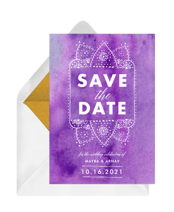 Henna Wash Save The Date – Greenvelope Digital Save The Date Wedding Invitations – Bridal Musings