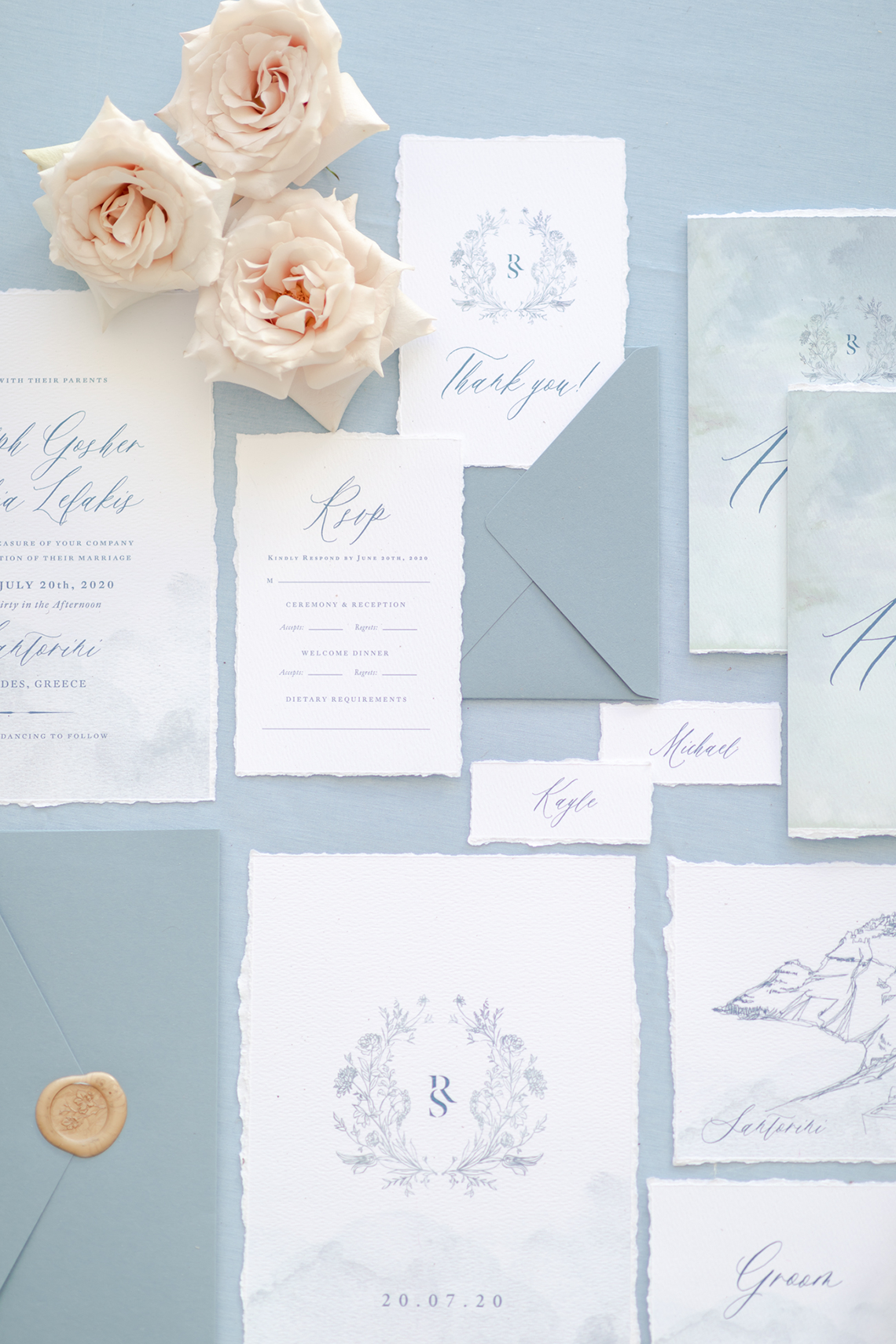 Pale Blue Greek Micro Wedding on the Cliffs of Santorini – Kimonas Photography 1